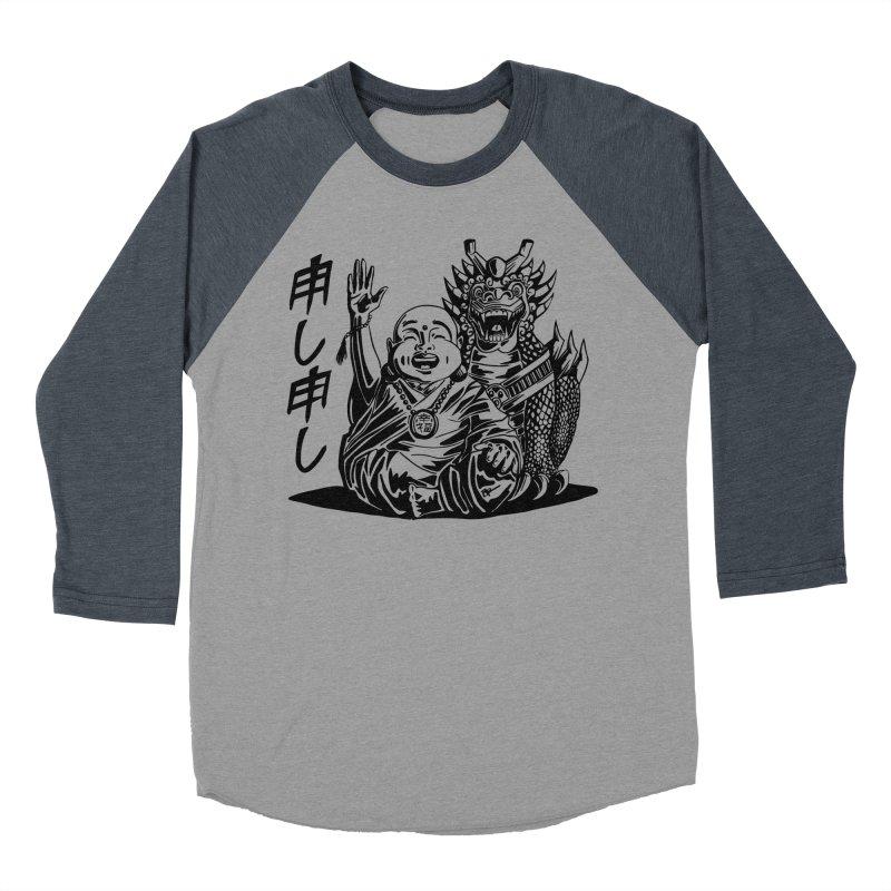 Moshi Moshi in Men's Baseball Triblend Longsleeve T-Shirt Navy Sleeves by Sleepless Jack Design
