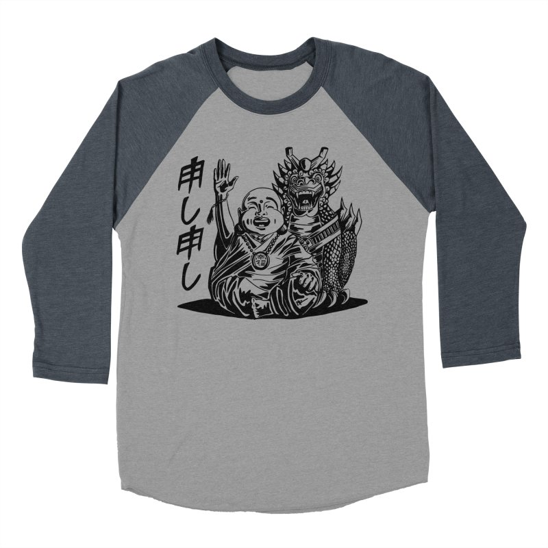 Moshi Moshi in Men's Baseball Triblend Longsleeve T-Shirt Navy Sleeves by Sleepless Jack Design