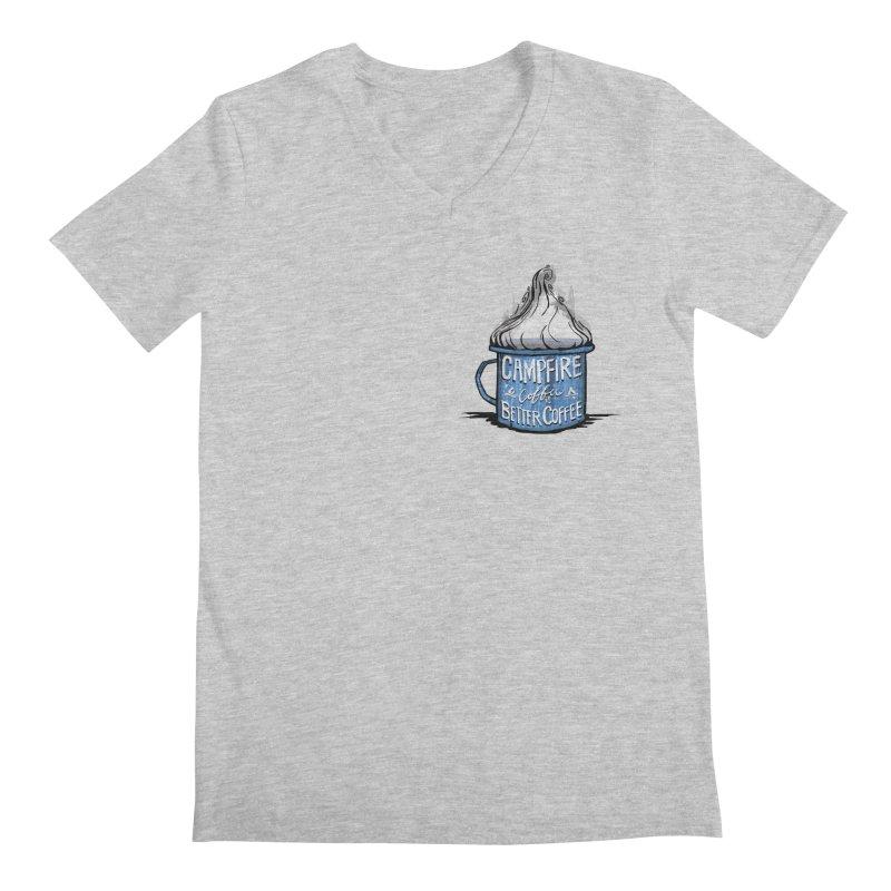 Campfire Coffee in Men's V-Neck Heather Grey by Sleepless Jack Design