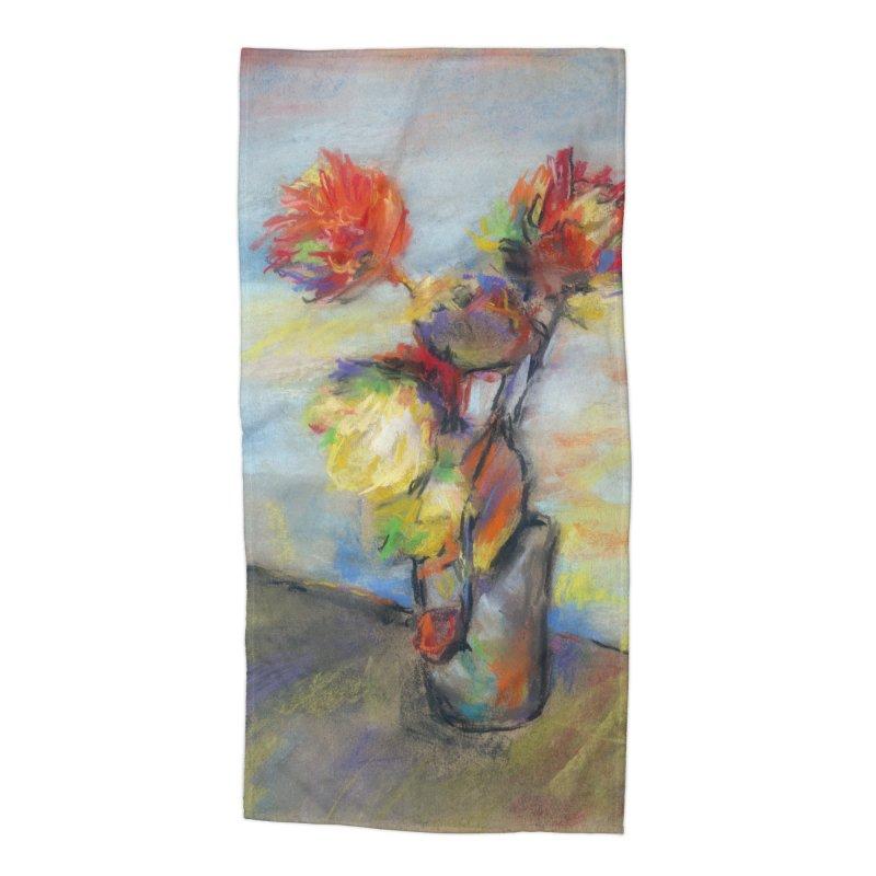 Flowers. Pastel crayons on cardboard. Accessories Beach Towel by sleepwalker's Artist Shop