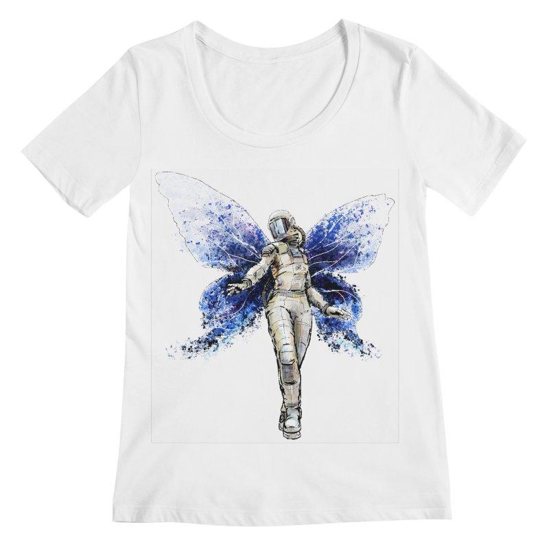 Space Butterfly Women's Scoopneck by sleepwalker's Artist Shop