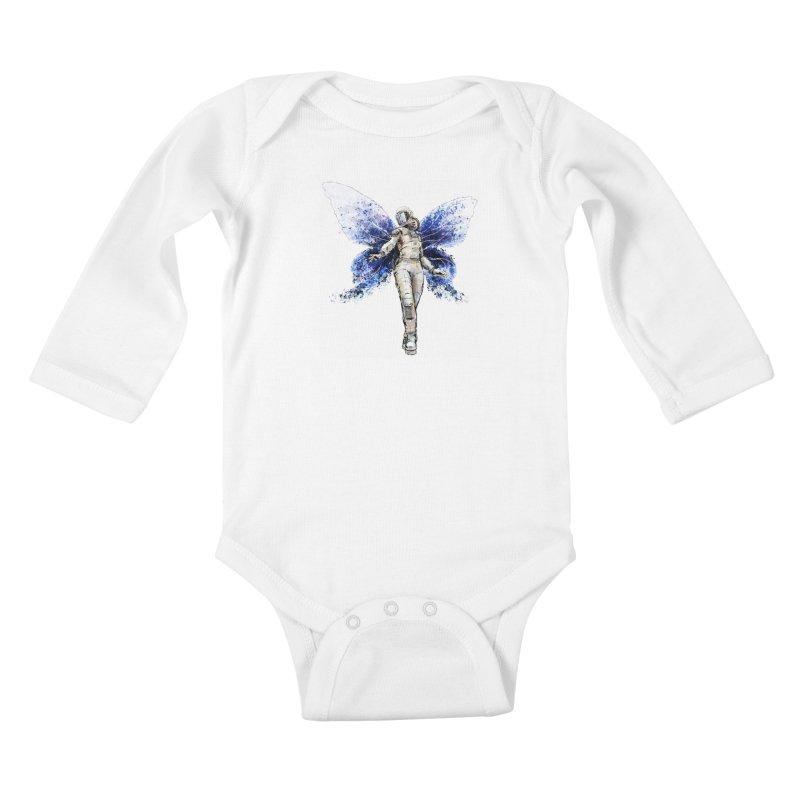 Space Butterfly Kids Baby Longsleeve Bodysuit by sleepwalker's Artist Shop