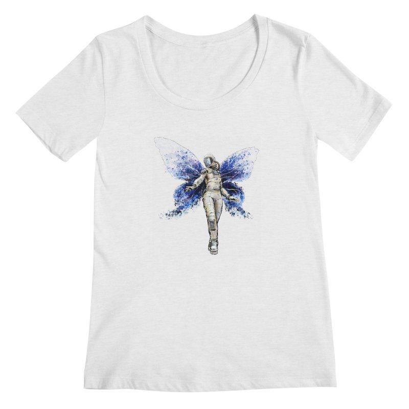 Space Butterfly Women's Regular Scoop Neck by sleepwalker's Artist Shop