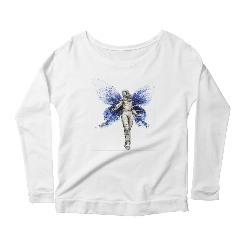 Space Butterfly Women's Longsleeve Scoopneck  by sleepwalker's Artist Shop