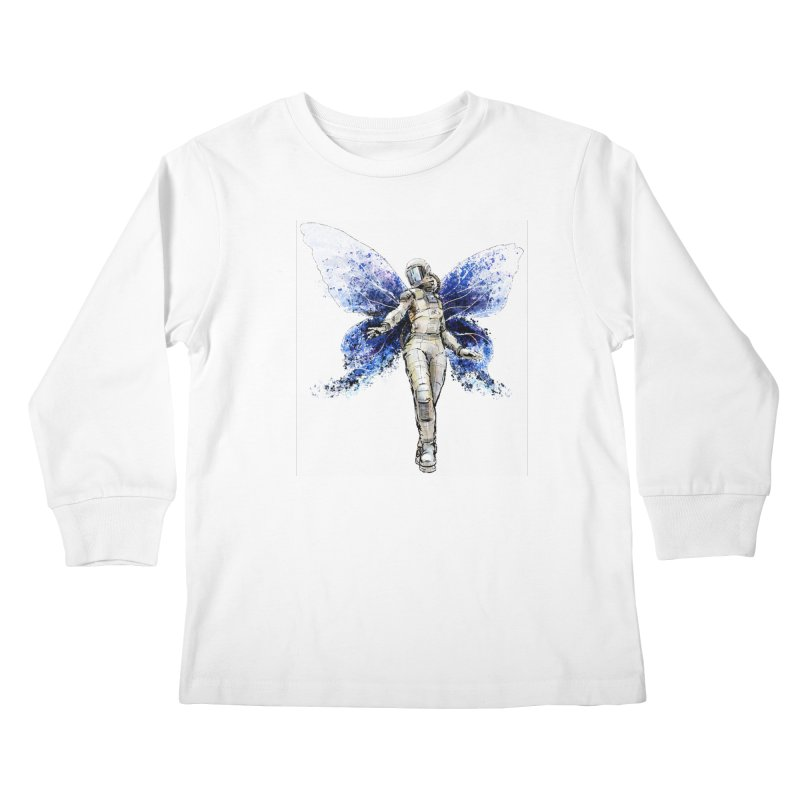 Space Butterfly Kids Longsleeve T-Shirt by sleepwalker's Artist Shop
