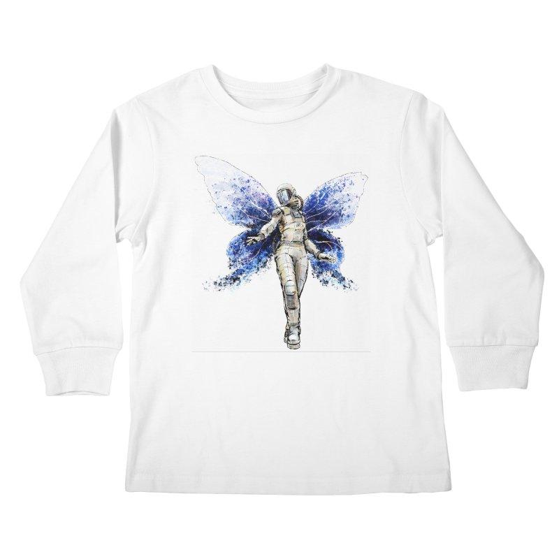 Space Butterfly Kids Longsleeve T-Shirt by sleepwalker's Artist Shop