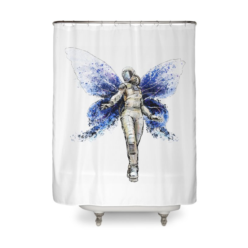 Space Butterfly Home Shower Curtain by sleepwalker's Artist Shop