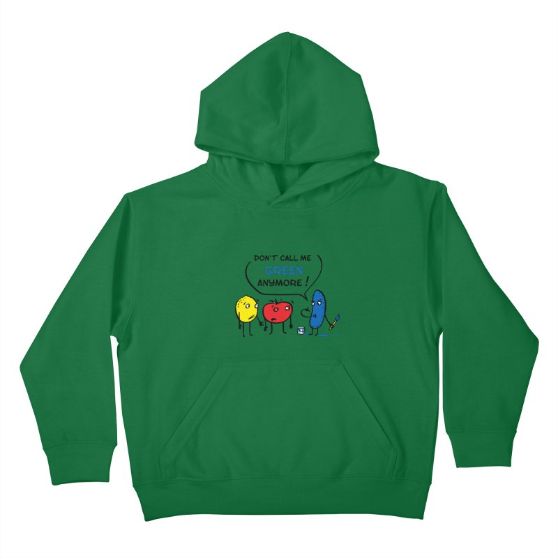 Mad cucumber became blue! Kids Pullover Hoody by sleepwalker's Artist Shop