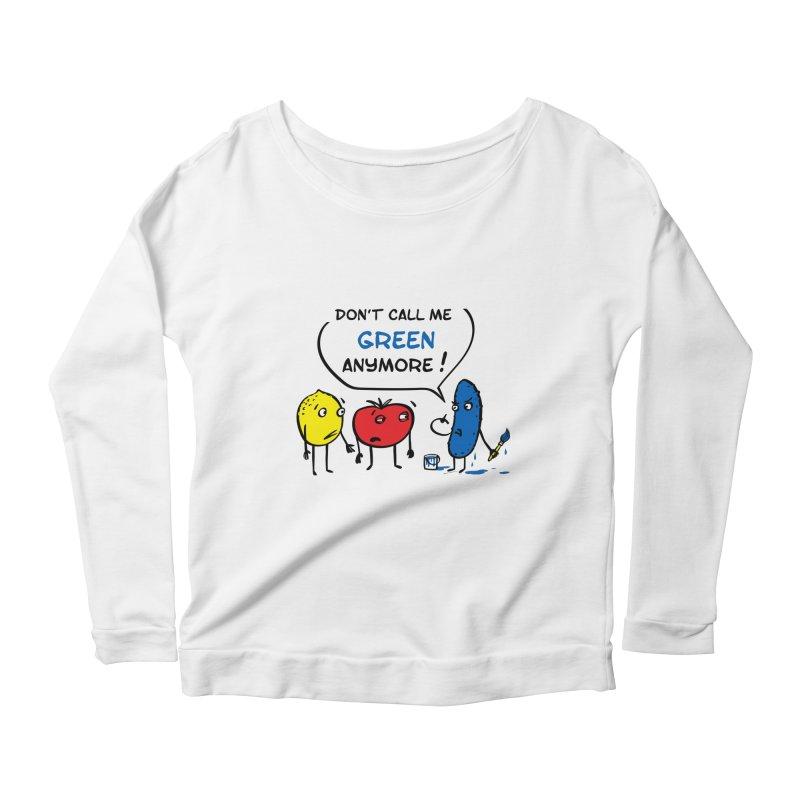 Mad cucumber became blue! Women's Scoop Neck Longsleeve T-Shirt by sleepwalker's Artist Shop
