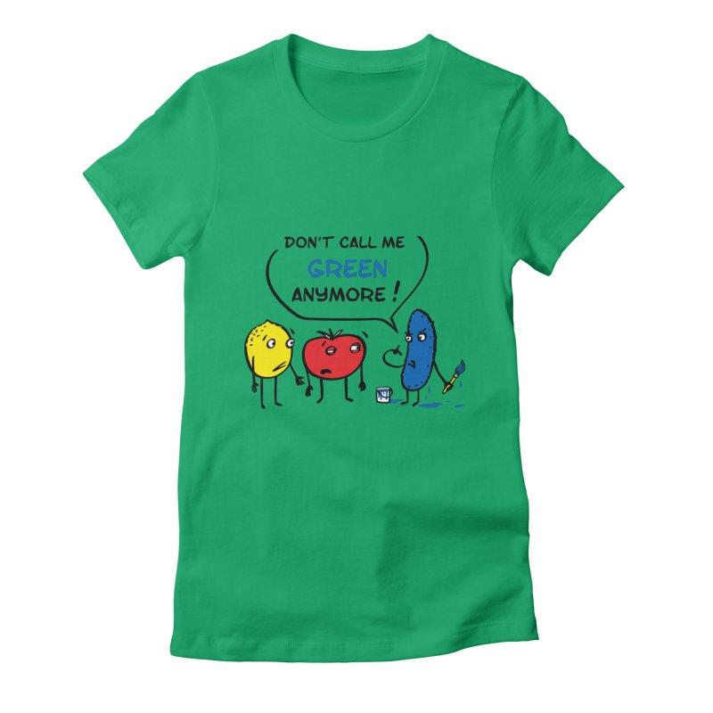 Mad cucumber became blue! Women's Fitted T-Shirt by sleepwalker's Artist Shop