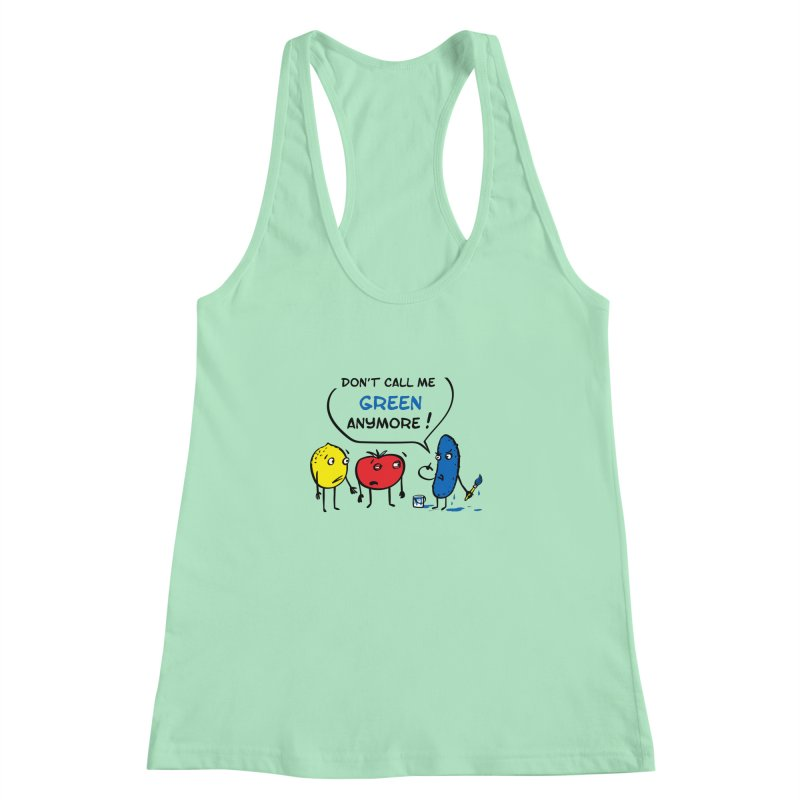 Mad cucumber became blue! Women's Racerback Tank by sleepwalker's Artist Shop