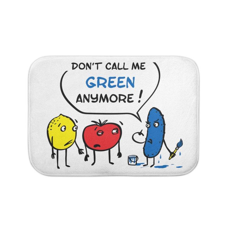 Mad cucumber became blue! Home Bath Mat by sleepwalker's Artist Shop