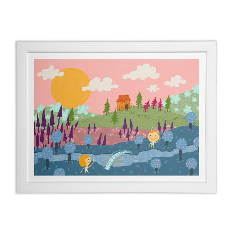 Welcome to Happyland in Framed Fine Art Print White by sleepydolphin's shop