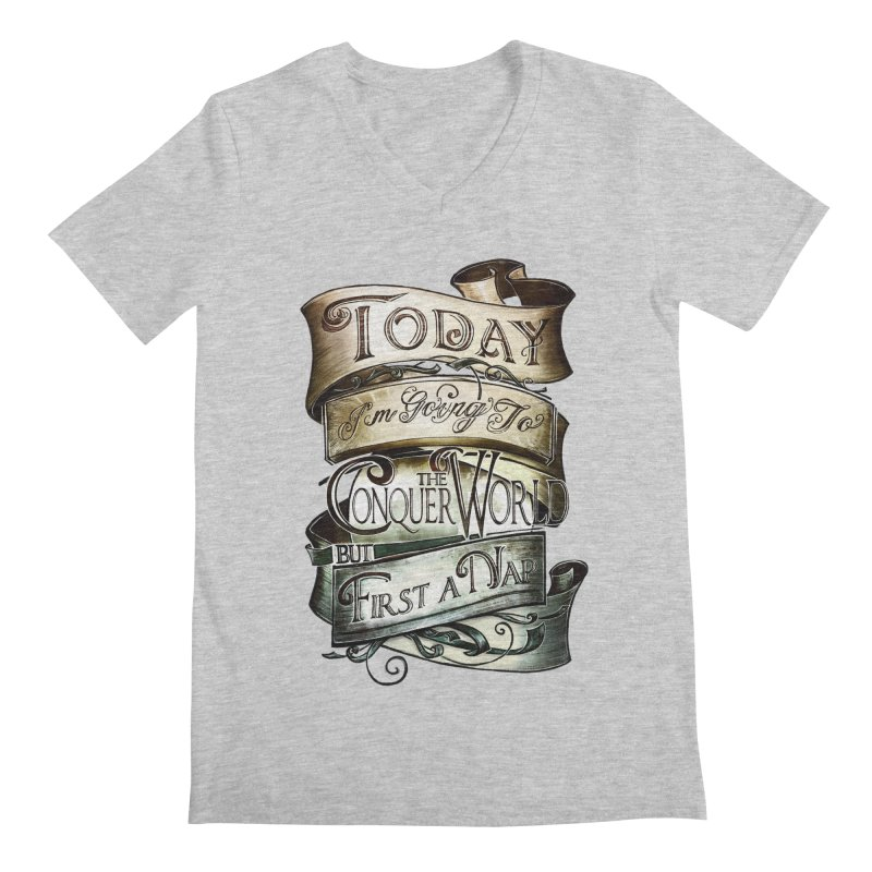 Today the World Men's V-Neck by Slogantees