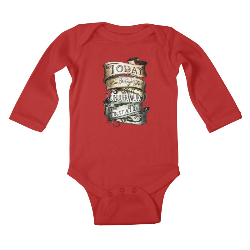 Today the World Kids Baby Longsleeve Bodysuit by Slogantees