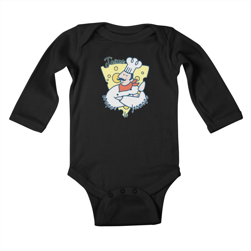 J'aime Couper le Fromage Kids Baby Longsleeve Bodysuit by Slogantees