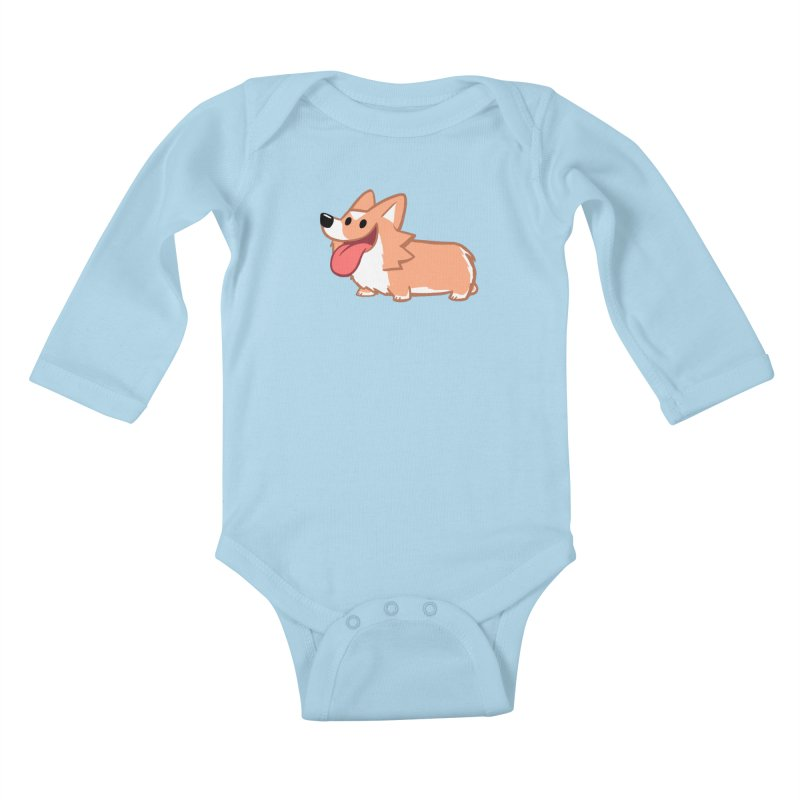 Peanut The Corgi Kids Baby Longsleeve Bodysuit by SLOTHILDA