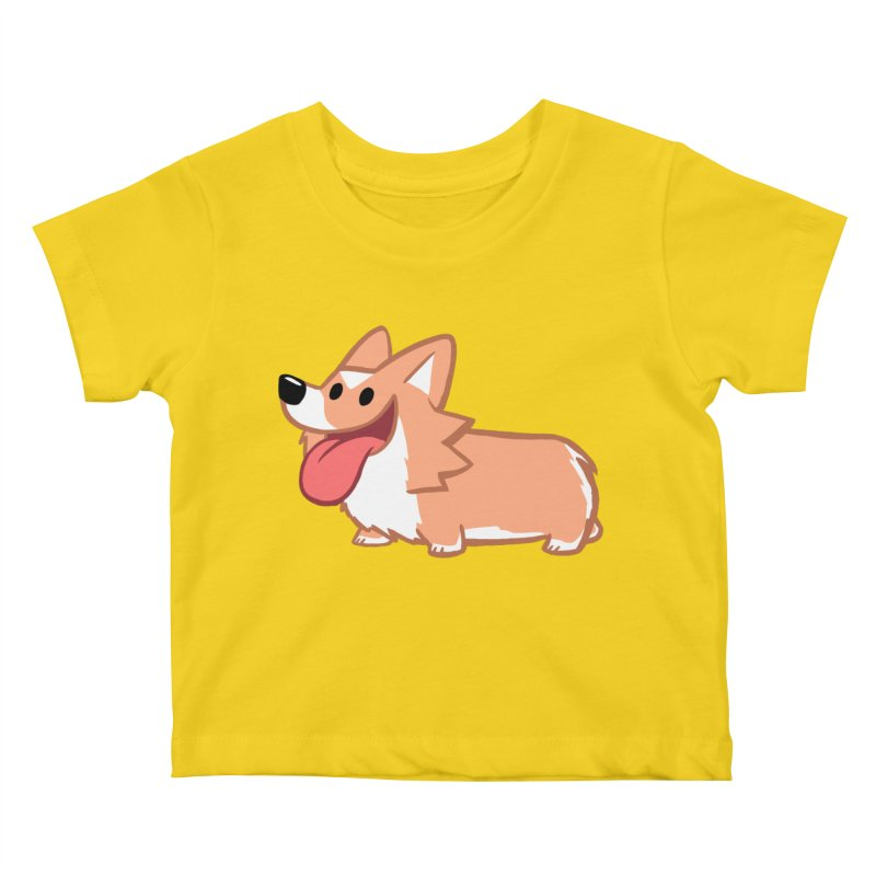 Peanut The Corgi in Kids Baby T-Shirt Yellow by SLOTHILDA