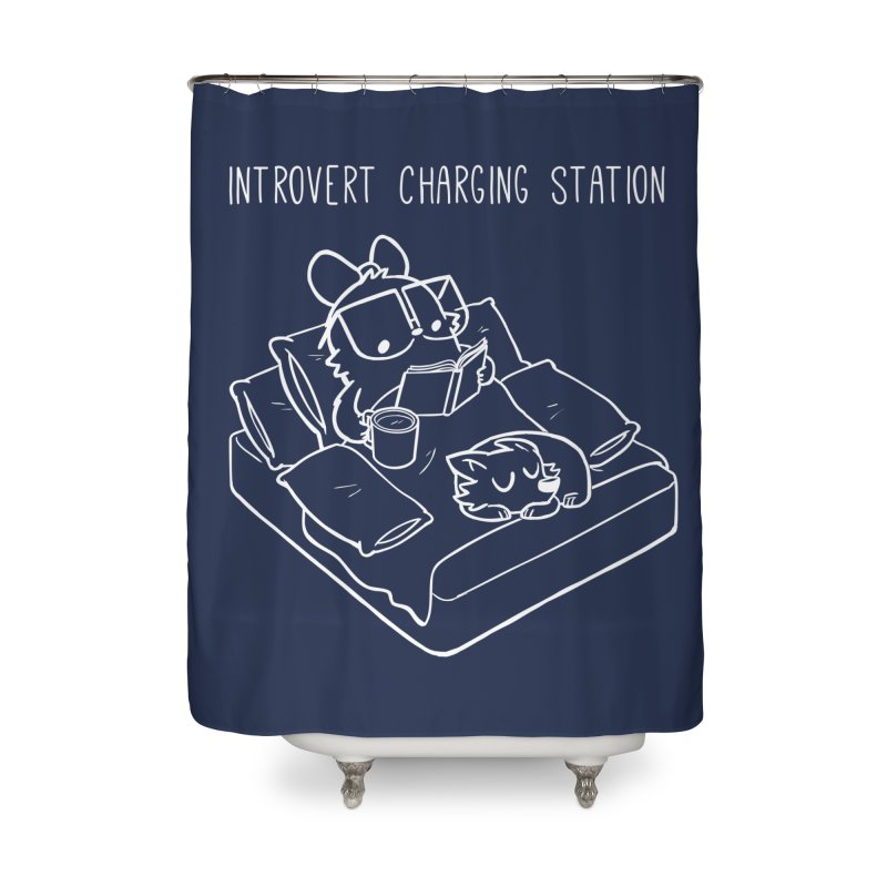 Introvert Charging Station Home Shower Curtain by SLOTHILDA