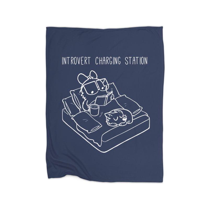 Introvert Charging Station Home Fleece Blanket Blanket by SLOTHILDA