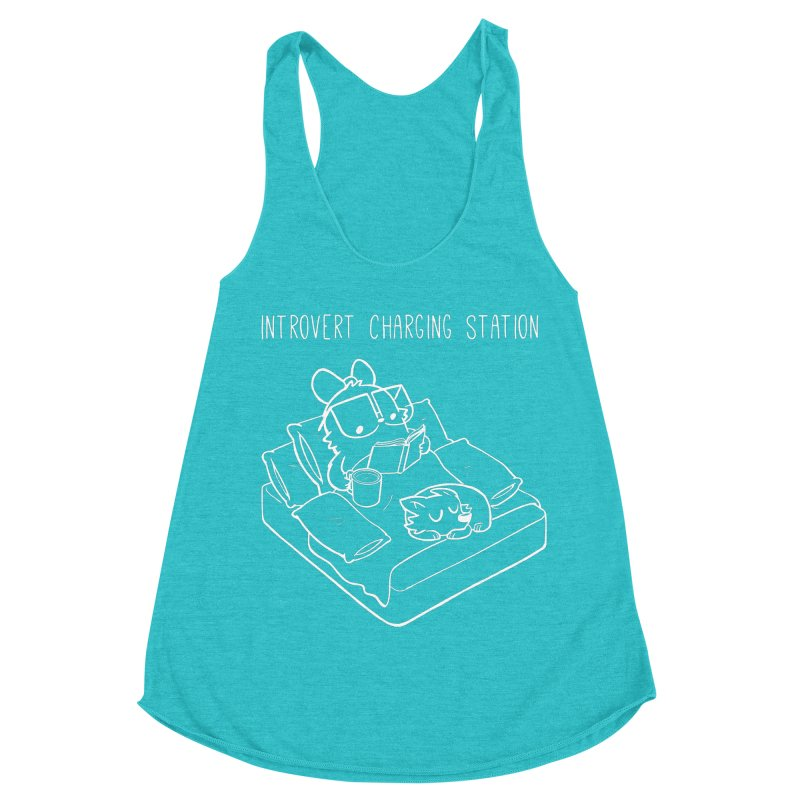 Introvert Charging Station Women's Racerback Triblend Tank by SLOTHILDA