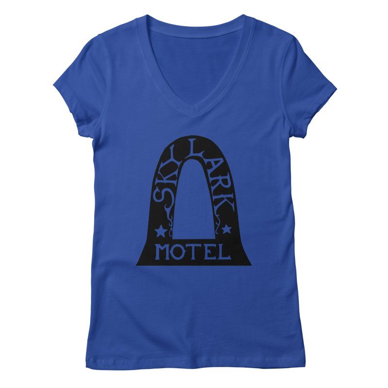Skylark Motel - Black Version Women's Regular V-Neck by Slow Low Crow Merch Shop