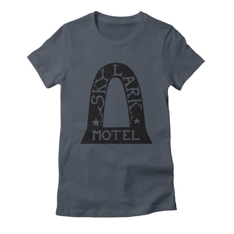 Skylark Motel - Black Version Women's Fitted T-Shirt by Slow Low Crow Merch Shop