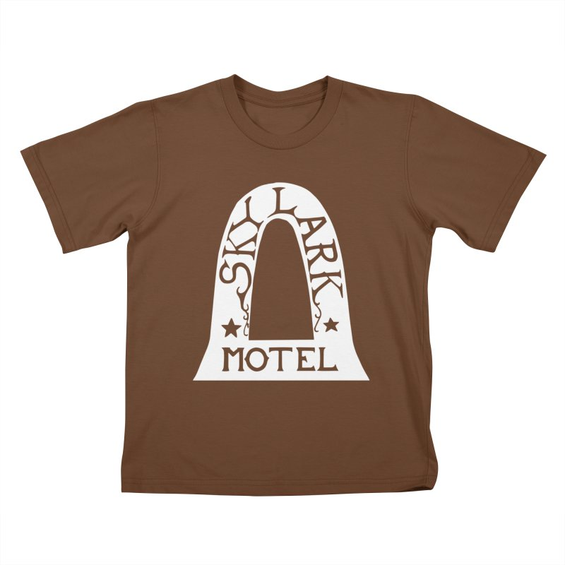 Skylark Motel - White Logo Version Kids T-Shirt by Slow Low Crow Merch Shop