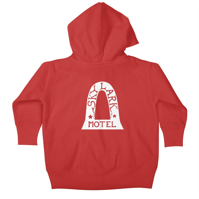 Skylark Motel - White Logo Version Kids Baby Zip-Up Hoody by Slow Low Crow Merch Shop
