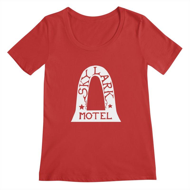 Skylark Motel - White Logo Version Women's Regular Scoop Neck by Slow Low Crow Merch Shop