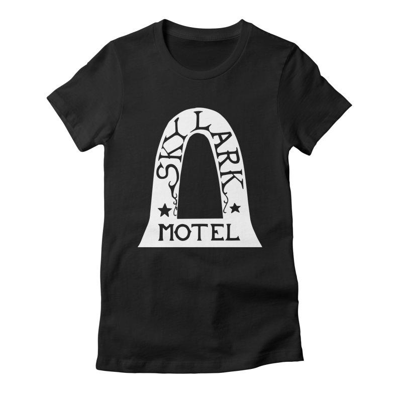 Skylark Motel - White Logo Version Women's Fitted T-Shirt by Slow Low Crow Merch Shop