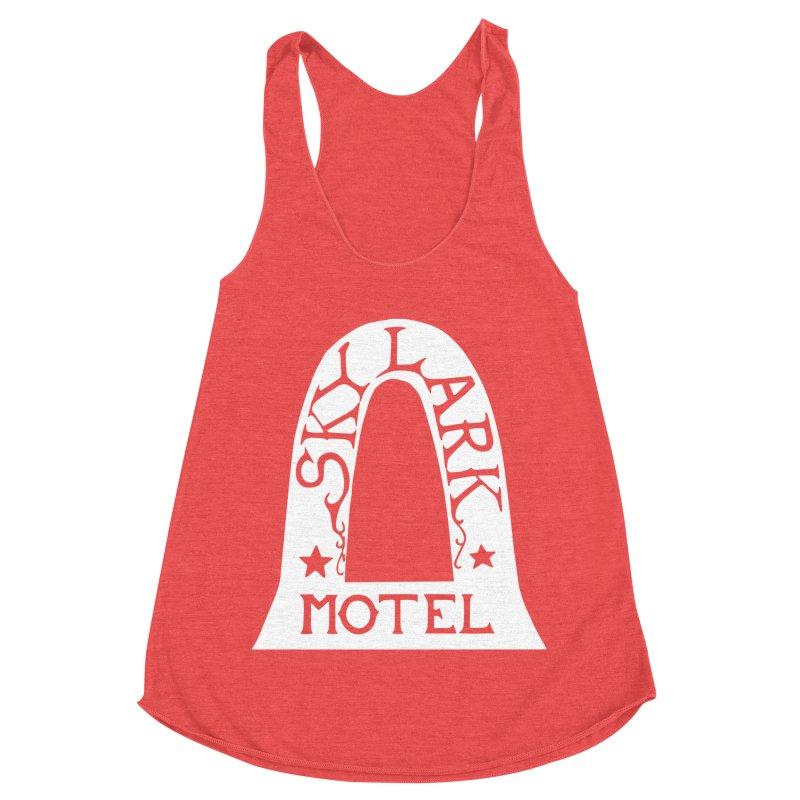 Skylark Motel - White Logo Version Women's Racerback Triblend Tank by Slow Low Crow Merch Shop