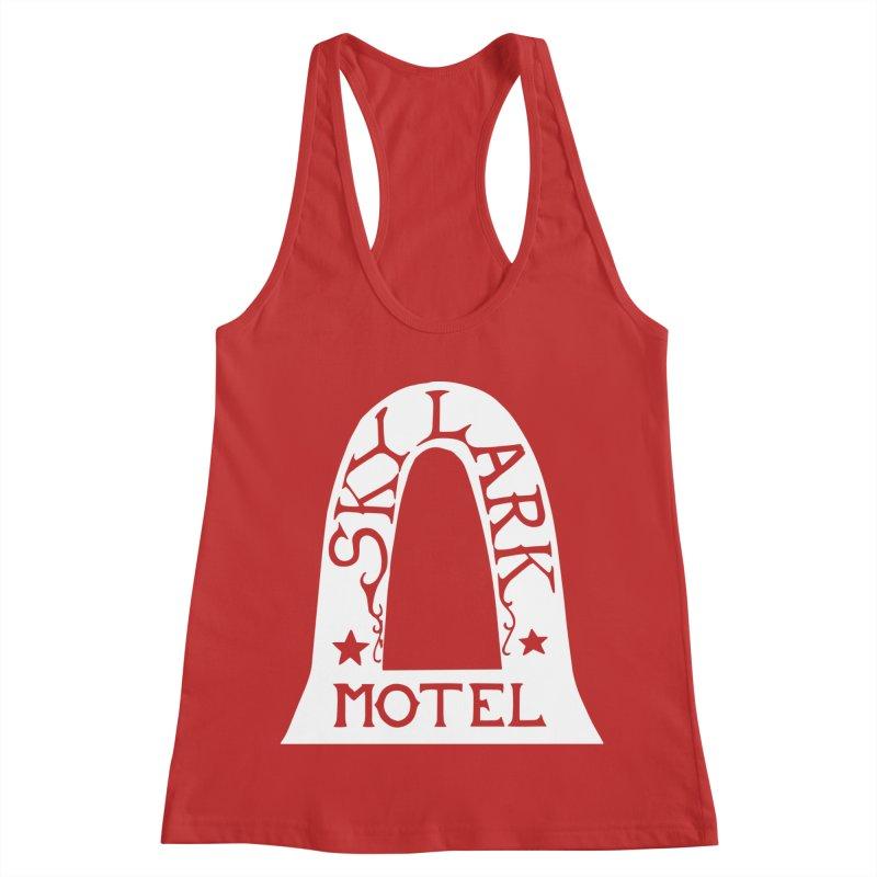 Skylark Motel - White Logo Version Women's Racerback Tank by Slow Low Crow Merch Shop