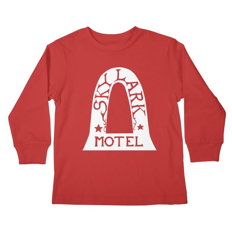 Skylark Motel - White Logo Version Kids Longsleeve T-Shirt by Slow Low Crow Merch Shop