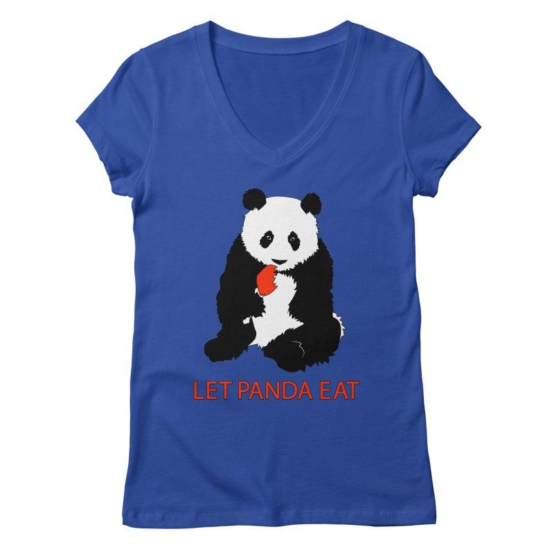 Let Panda Eat Women's V-Neck by Slugamo's Threads
