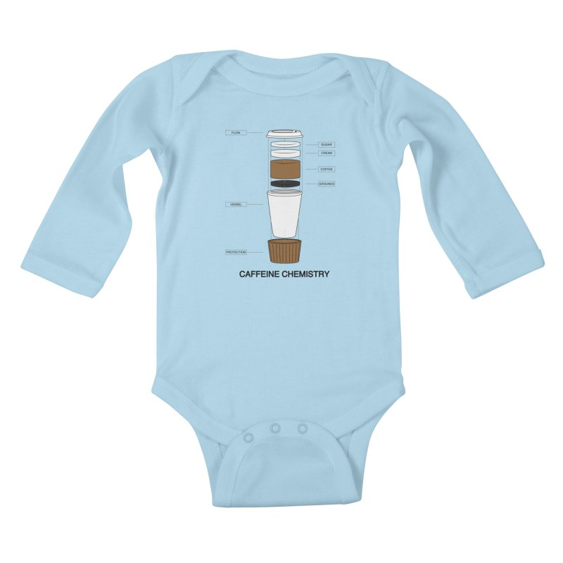Caffeine Chemistry Kids Baby Longsleeve Bodysuit by Slugamo's Threads