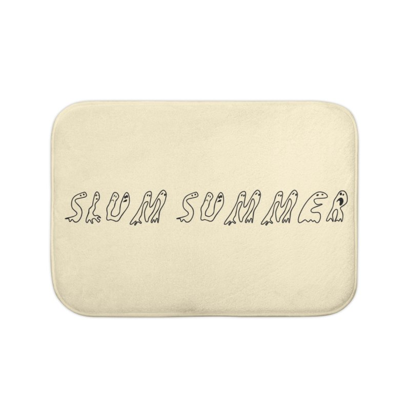 Straight Black Text Home Bath Mat by Slum Summer Merchandise