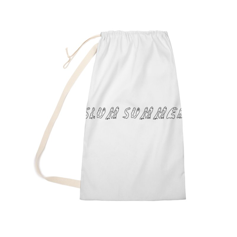Straight Black Text Accessories Laundry Bag Bag by Slum Summer Merchandise