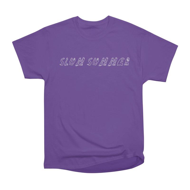 Straight White Text Women's Heavyweight Unisex T-Shirt by Slum Summer Merchandise