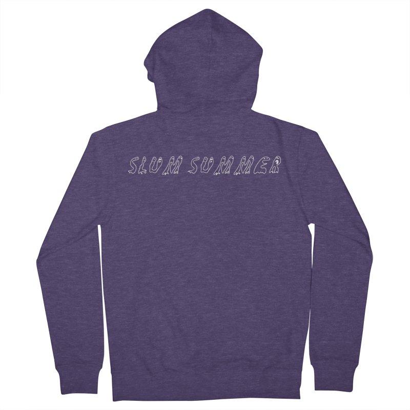 Straight White Text Men's French Terry Zip-Up Hoody by Slum Summer Merchandise