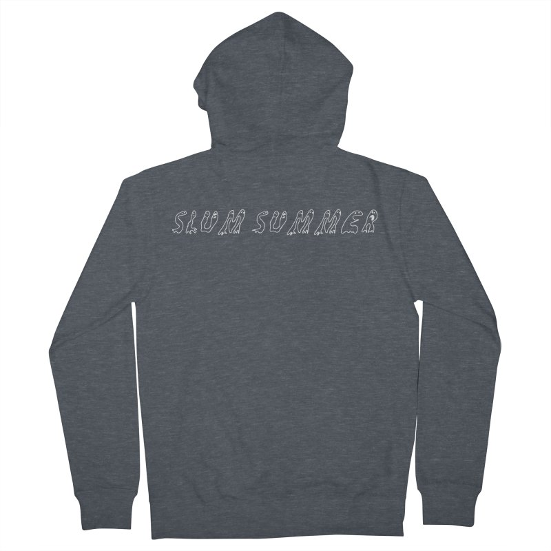 Straight White Text Men's French Terry Zip-Up Hoody by Slum Summer Merchandise