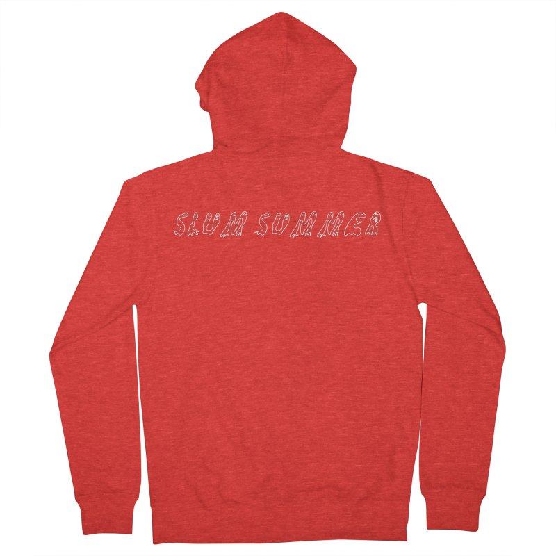 Straight White Text Men's Zip-Up Hoody by Slum Summer Merchandise