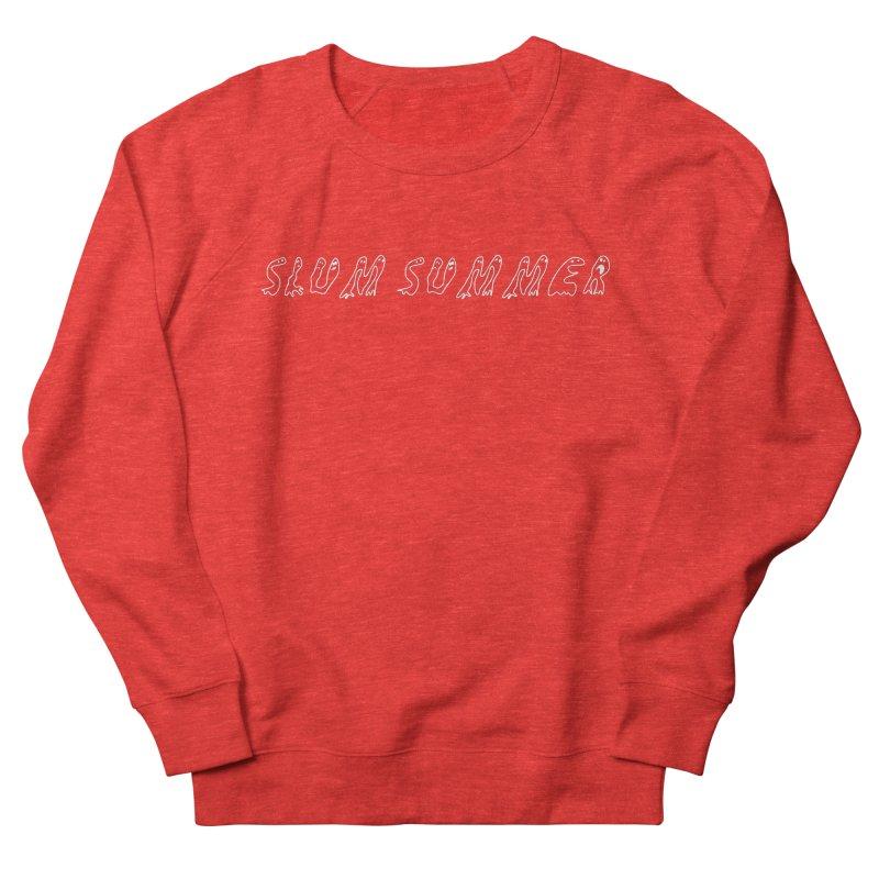 Straight White Text Men's Sweatshirt by Slum Summer Merchandise