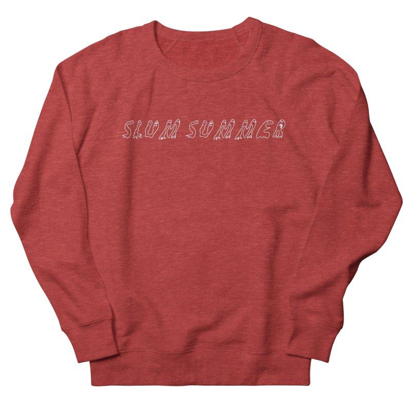 Straight White Text Men's French Terry Sweatshirt by Slum Summer Merchandise