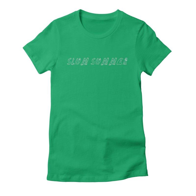 Straight White Text Women's T-Shirt by Slum Summer Merchandise
