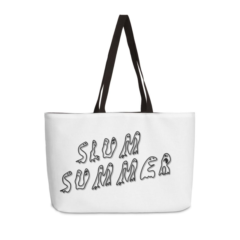 Stacked Black Text w/Shadow Accessories Weekender Bag Bag by Slum Summer Merchandise