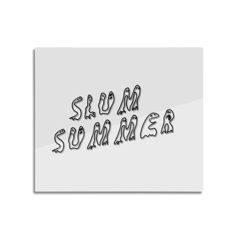 Stacked Black Text w/Shadow Home Mounted Aluminum Print by Slum Summer Merchandise