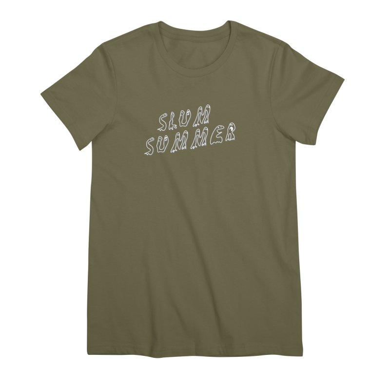 Stacked White Text w/Shadow Women's Premium T-Shirt by Slum Summer Merchandise