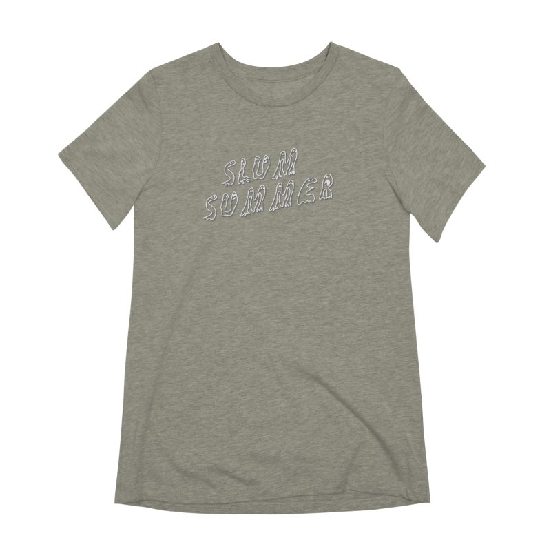 Stacked White Text w/Shadow Women's Extra Soft T-Shirt by Slum Summer Merchandise