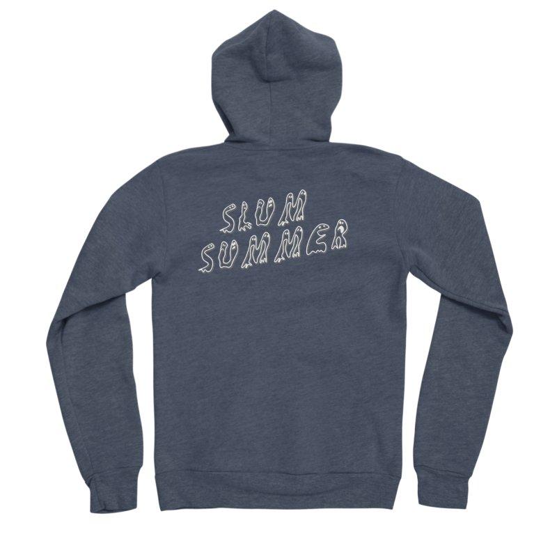 Stacked White Text w/Shadow Men's Sponge Fleece Zip-Up Hoody by Slum Summer Merchandise